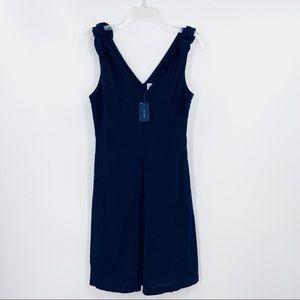 New GAP Blue 100% Linen Tie Shoulder V-Neck Dress